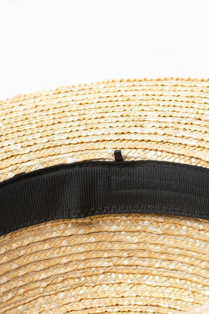 Black Ribbon Trimmed Wheat Straw Flicked Edge Boater