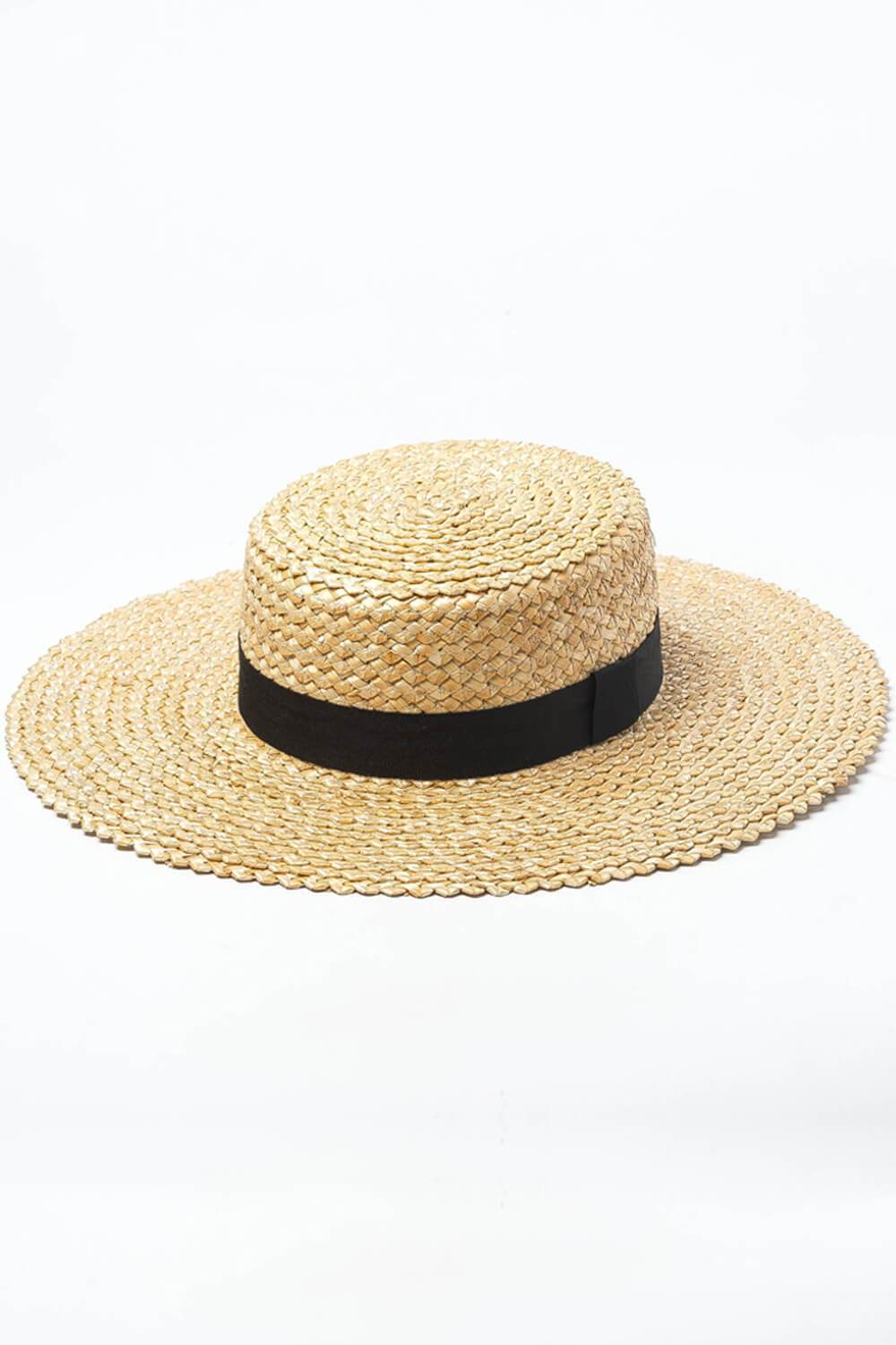 Zig-Zag Wheat Straw Boater With Black Ribbon Trim