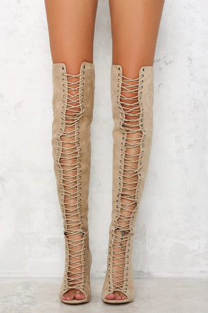 Nude Suede Lace Up Peep Toe Thigh High Boots