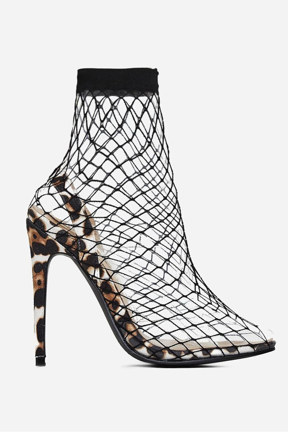 White Leopard Print Clear Perspex Fishnet Ankle Sock Heels