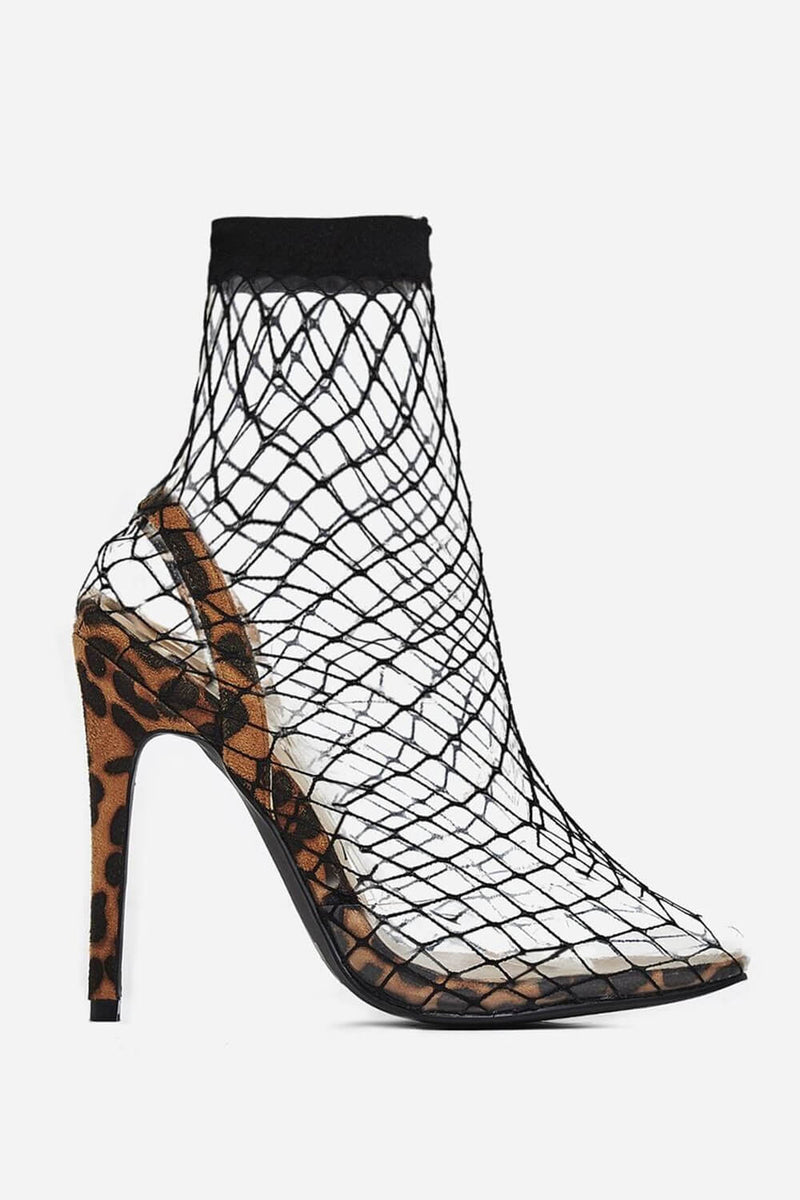 Tan Leopard Print Fishnet Clear Perspex Fishnet Ankle Sock Heels