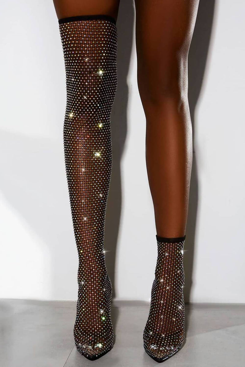 Black Diamante Fishnet Ankle Sock Heeled Boots