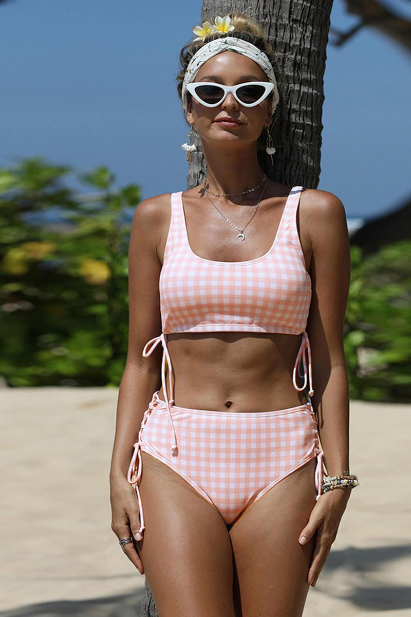 Pink Gingham Lace-Up High Waist Bikini Bottom