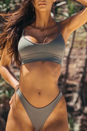 Coconut Lace-Up Bikini Crop Top