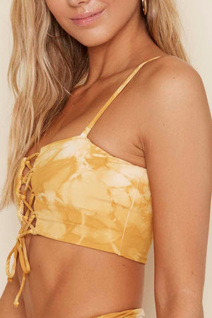 Honey Tie Dye Lace-Up Bikini Top