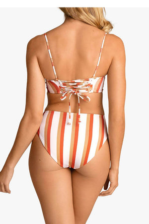 Striped Lace Back Bikini Top