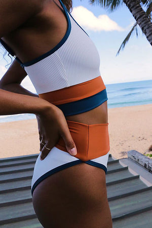 White Chocolate Blue Blocked Rib Sporty Bikini Top