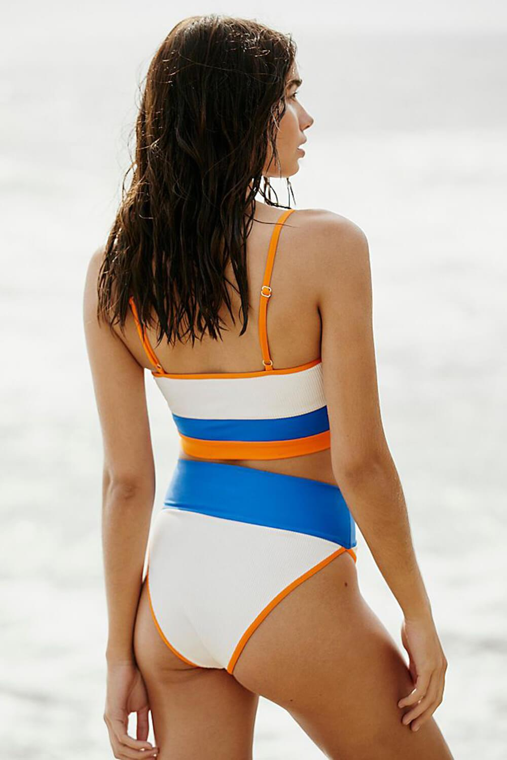 White Orange Blue Blocked Rib Sporty Bikini Top