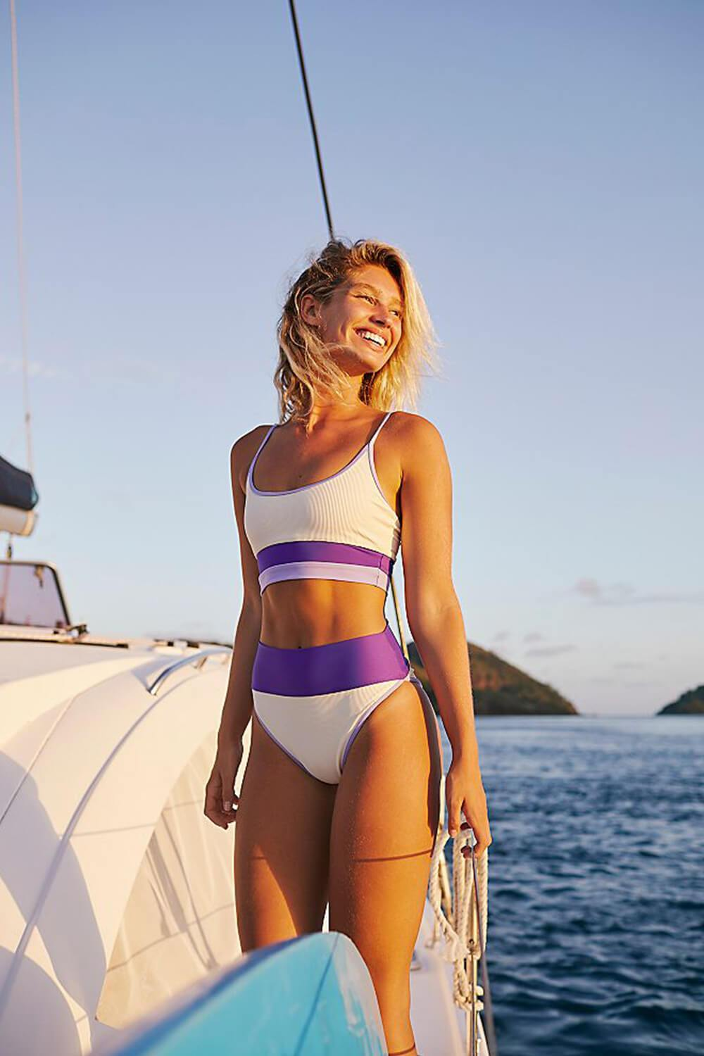 Purple Lilac Ivory Blocked Rib High Waisted Bikini Bottom