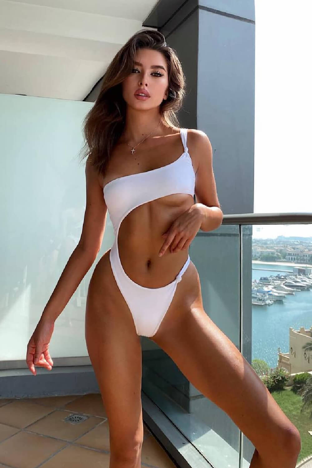 White Asymmetric One Shoulder Cut Out One Piece Swimsuit
