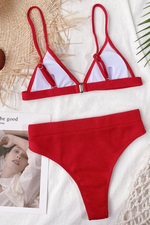 Red Ribbed High-Waisted Bikini Bottom