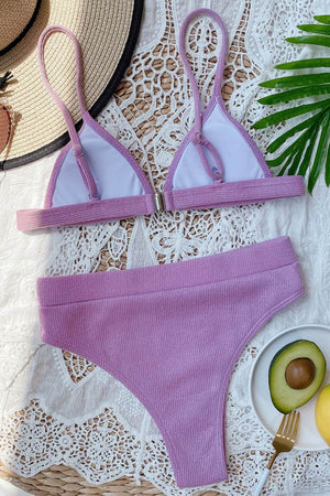 Purple Ribbed High-Waisted Bikini Bottom