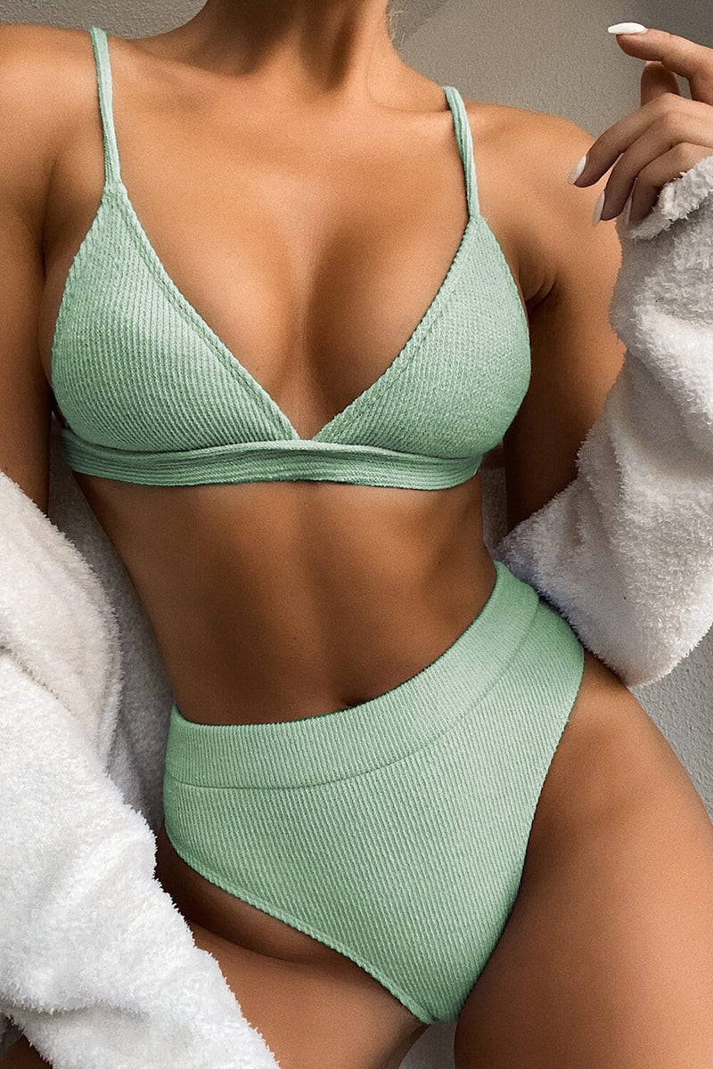 Mint Rib Triangle Bikini Top