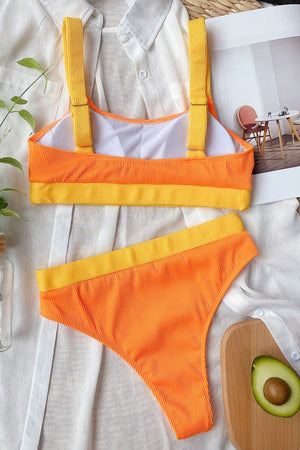 Orange Yellow Blocked Rib High Waisted Bikini Bottom