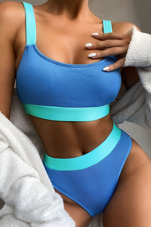 Orange Blue Blocked Rib High Waisted Bikini Bottom