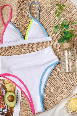 Pink Blue Colorblock Rib High Waisted Bikini Bottom