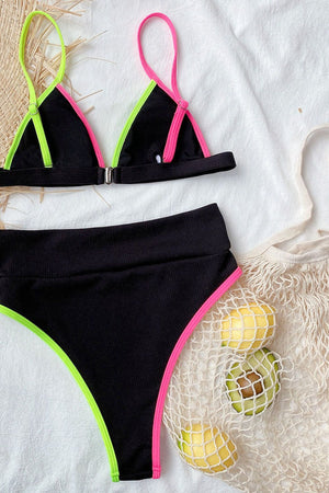 Pink Black Lime Colorblock Rib High Waisted Bikini Bottom