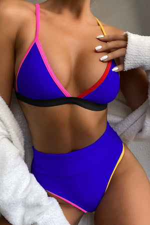 Royal Blue Colorblock Rib High Waisted Bikini Bottom