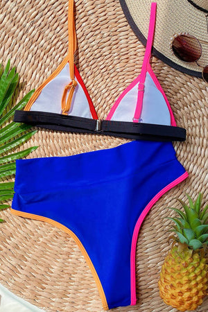 Royal Blue Colorblock Rib Triangle Bikini Top