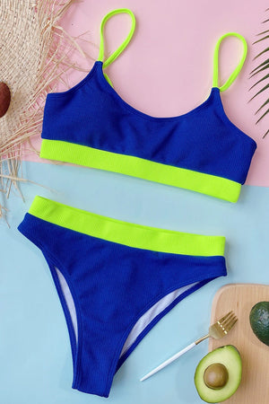 Neon Blue Blocked Blocked Rib High Waisted Bikini Bottom