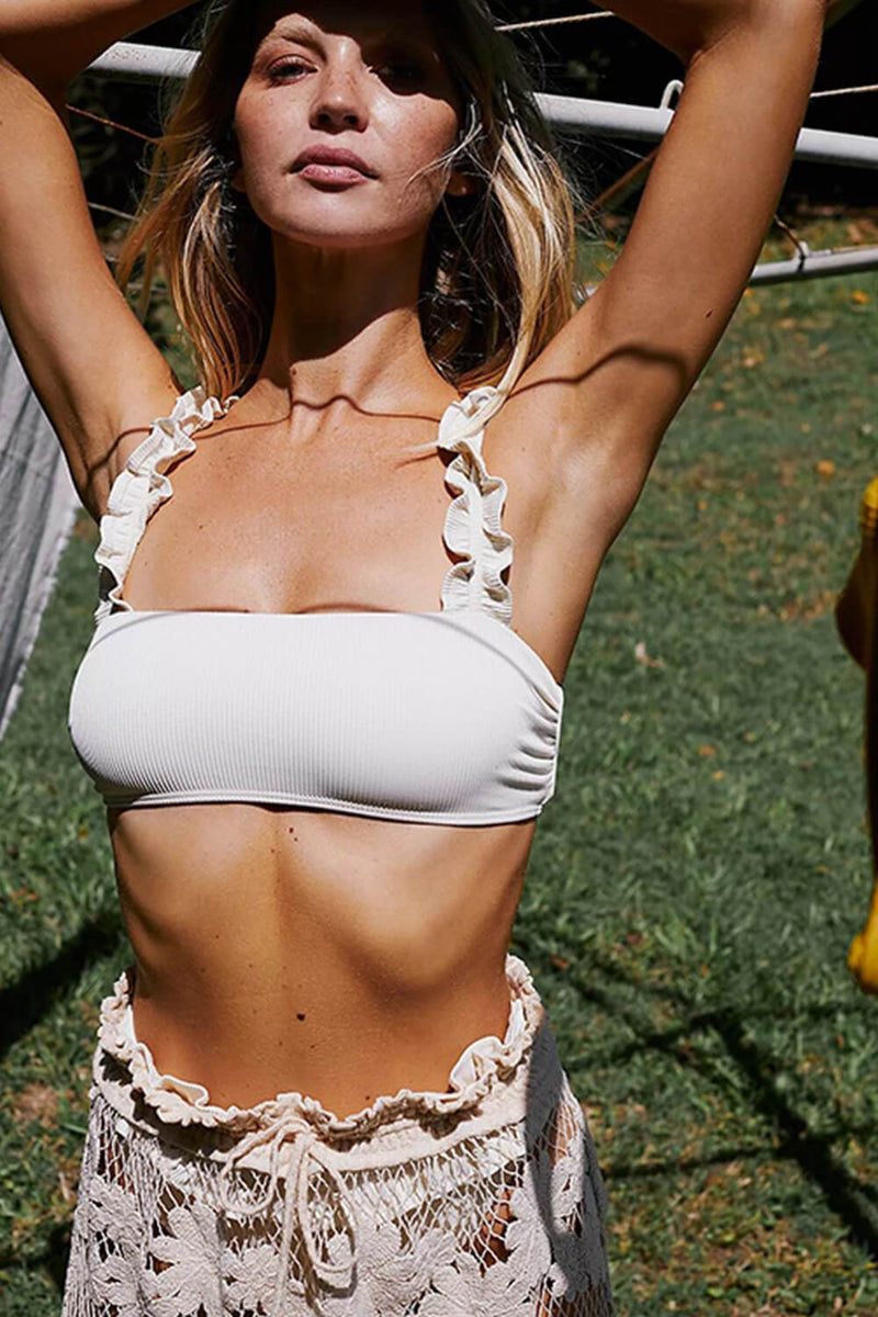 White Ribbed Ruffled Bikini Top