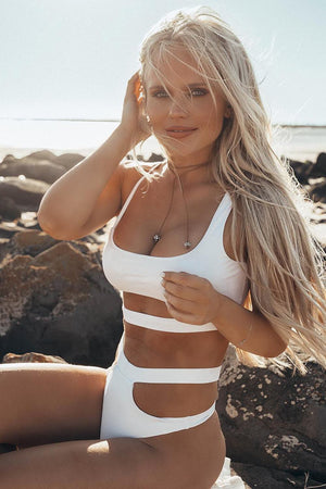 White Cut Out Underbust Bikini Top