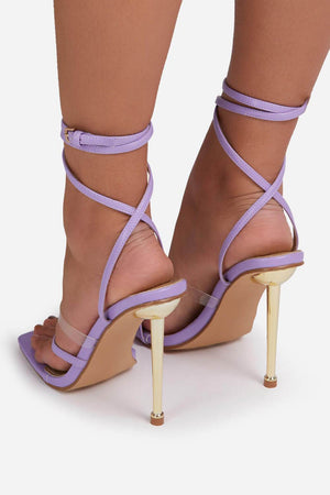 Lilac Faux Leather Lace Up Clear Perspex Square Toe Metallic Heel