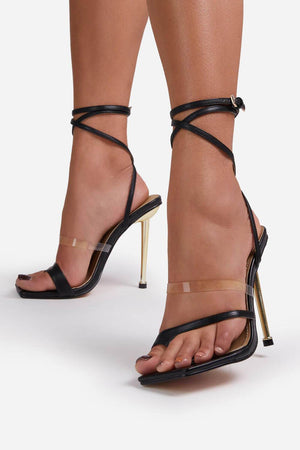 Black Faux Leather Lace Up Clear Perspex Square Toe Metallic Heel
