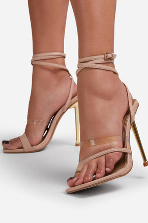 Nuede Faux Leather Lace Up Clear Perspex Square Toe Metallic Heel
