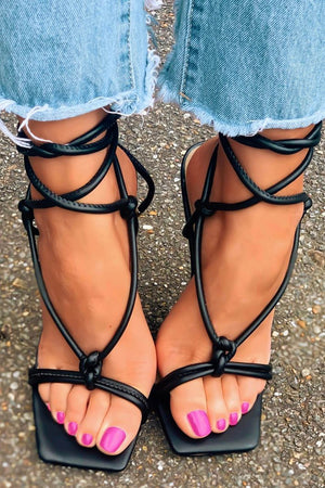 Black Faux Leather Lace Up Square Toe  Sculptured Heel