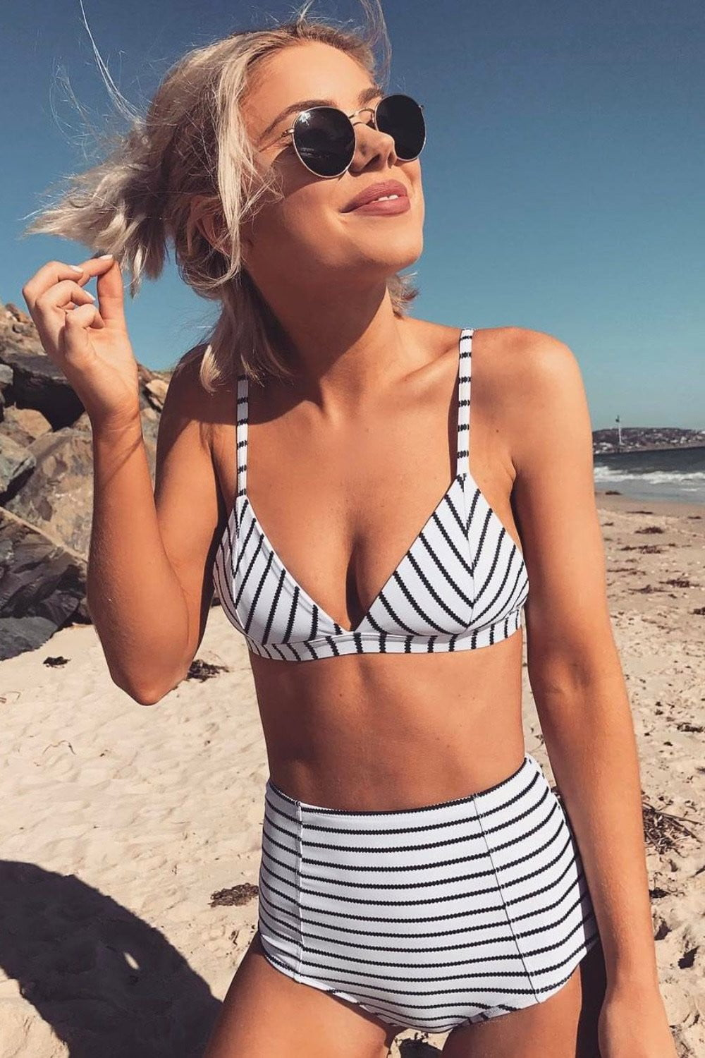 White Black Striped Bikini Top