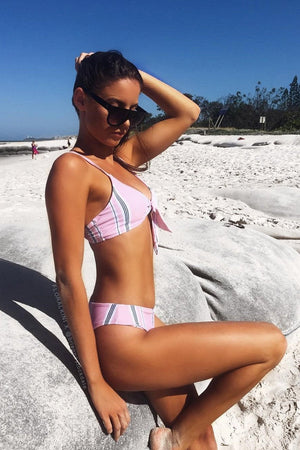 Striped High Leg Bikini Bottom