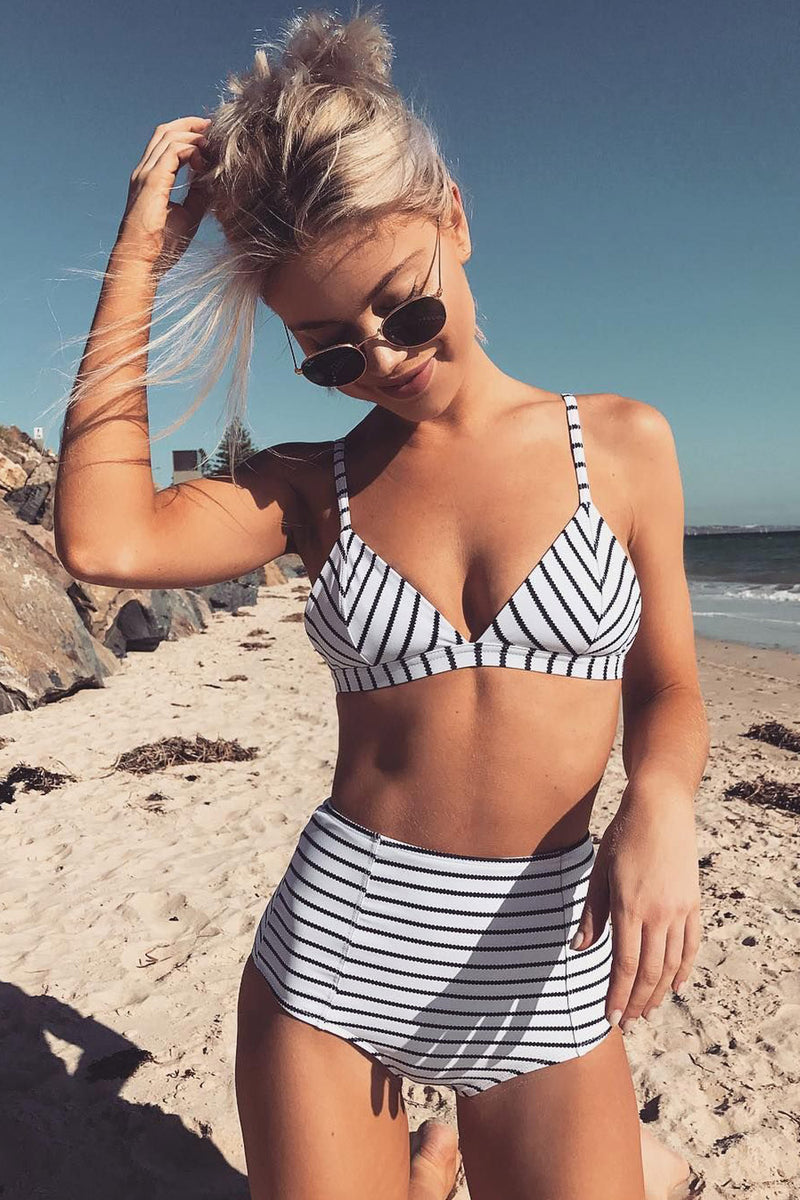 White Black Striped High Waist Bikini Bottom (2155368087611)