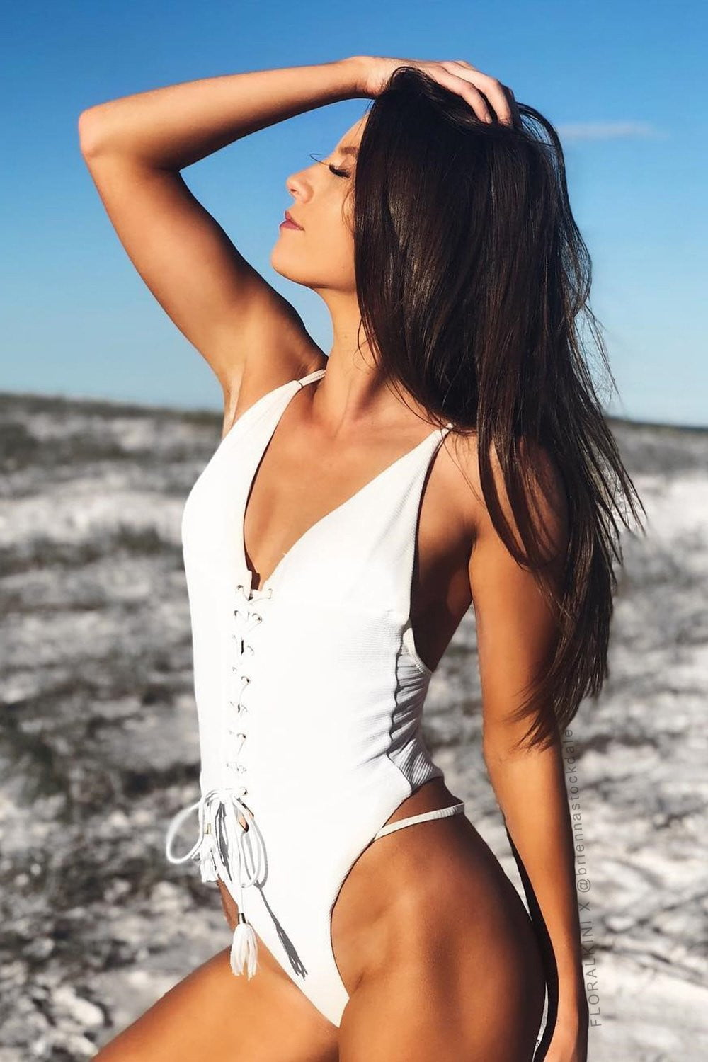 White Lace Up Plunge High Leg One Piece Swimsuit
