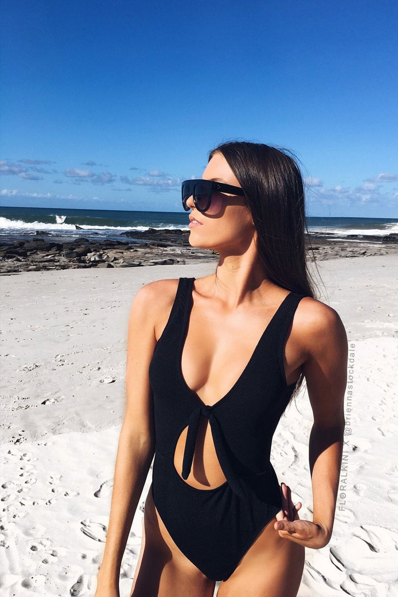 Black Ribbed Knot Cut Out One Piece Swimsuit
