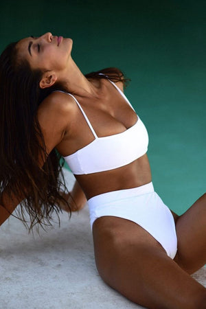 White High Waist Bikini Bottom (2180795957307)