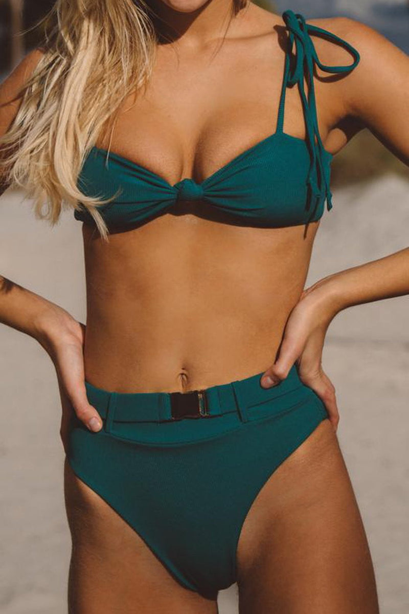 Teal Ribbed Knot Tie Shoulder Bikini Top