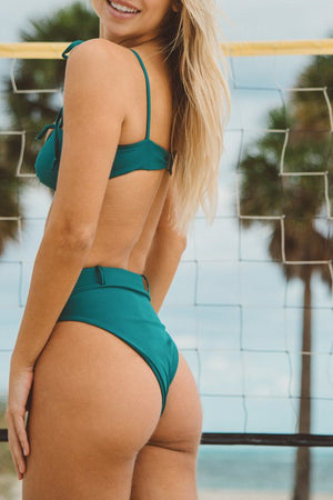 Teal Ribbed Belted High Waist Bikini Bottom