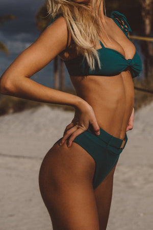 Teal Ribbed Knot Tie Shoulder Bikini Top (2188757368891)