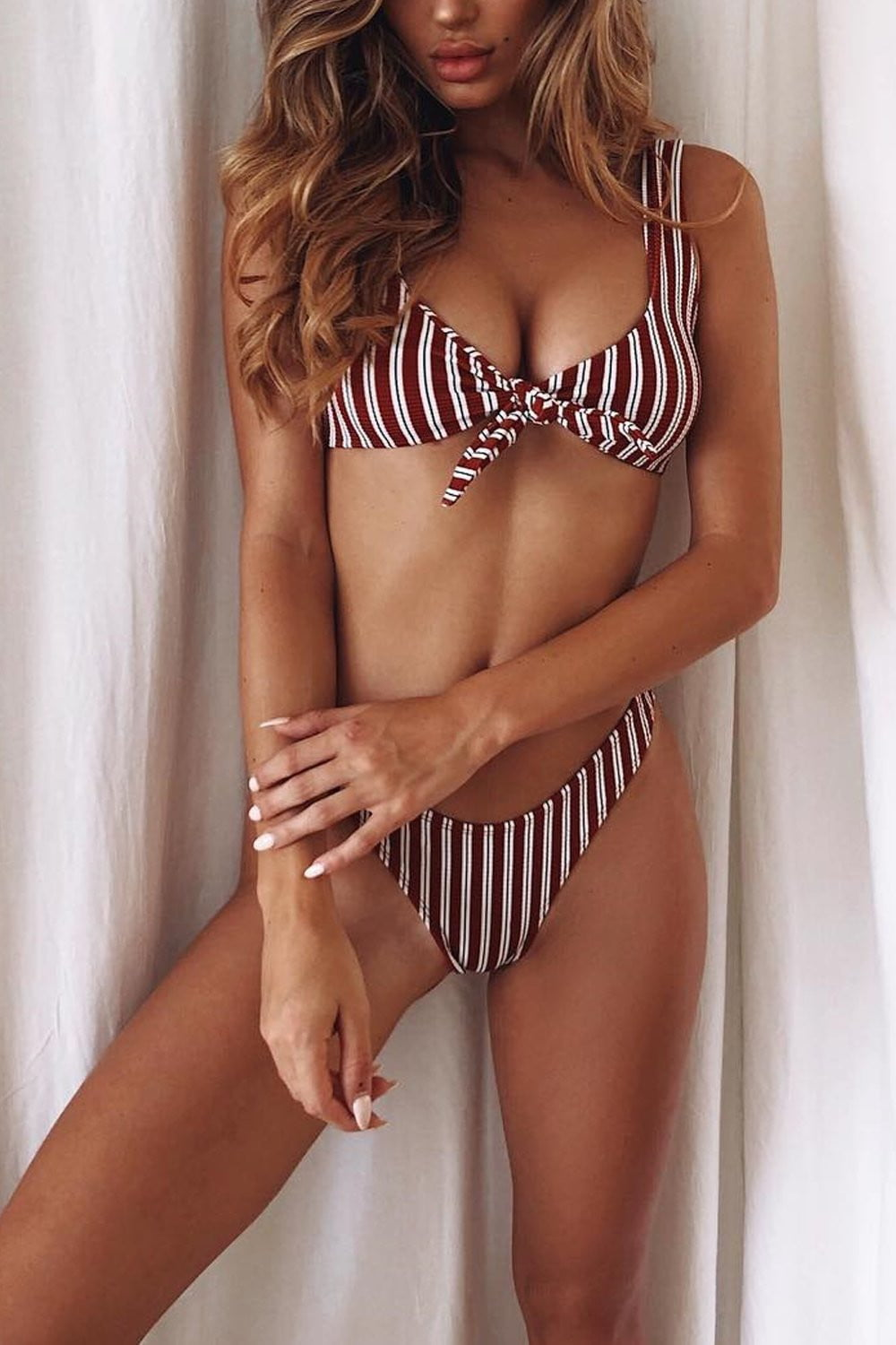 Burgundy White Striped Ribbed Cropped Bikini Top (2188757401659)