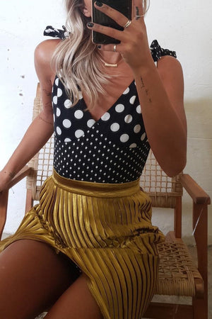 Polka Dots Plunge Tie Shoulder One Piece Swimsuit