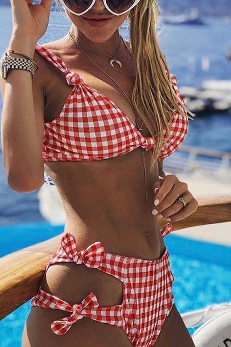 Red Gingham Knot Bikini Top (2190537785403)