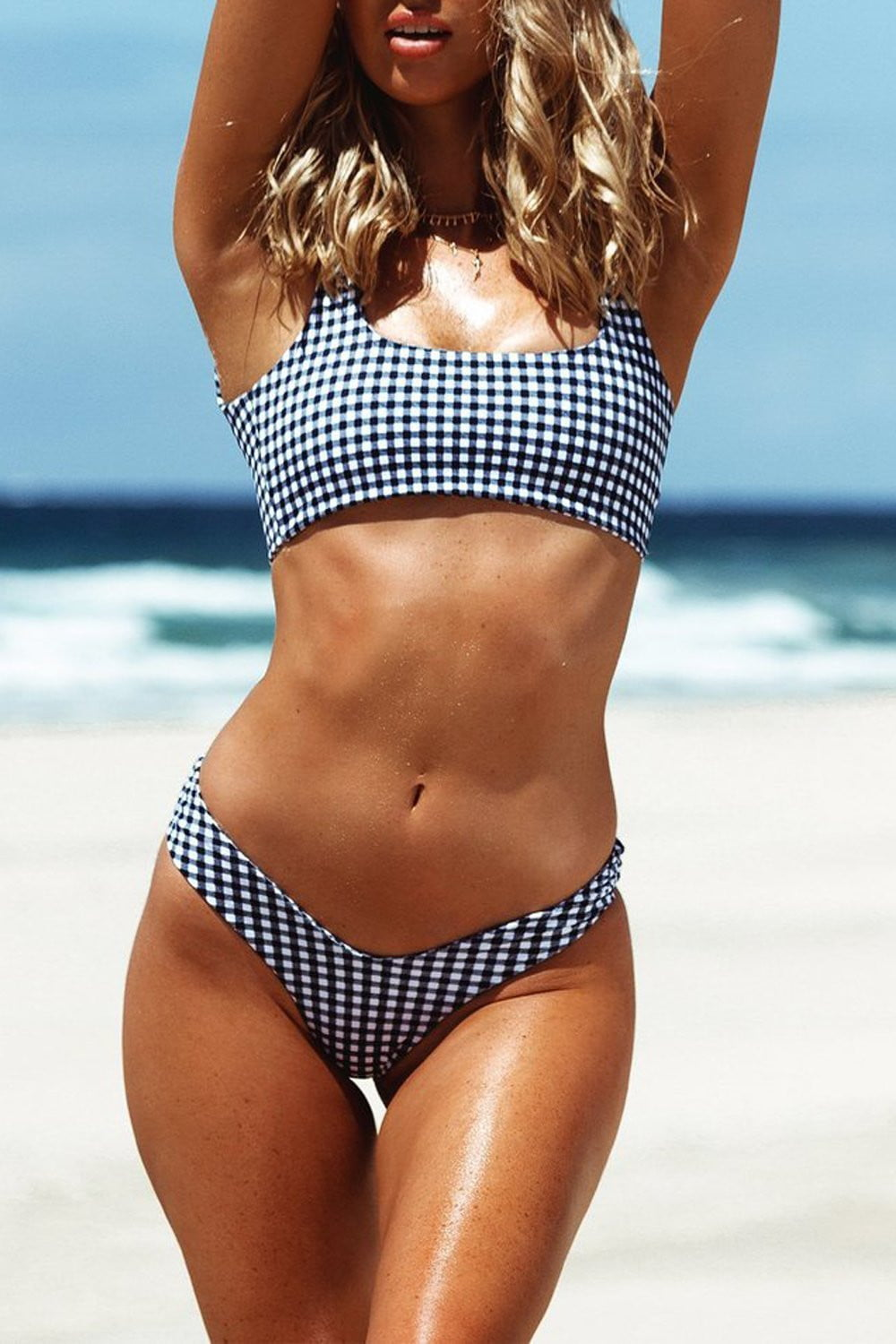 Black Gingham Cropped Bikini Top (2190538113083)