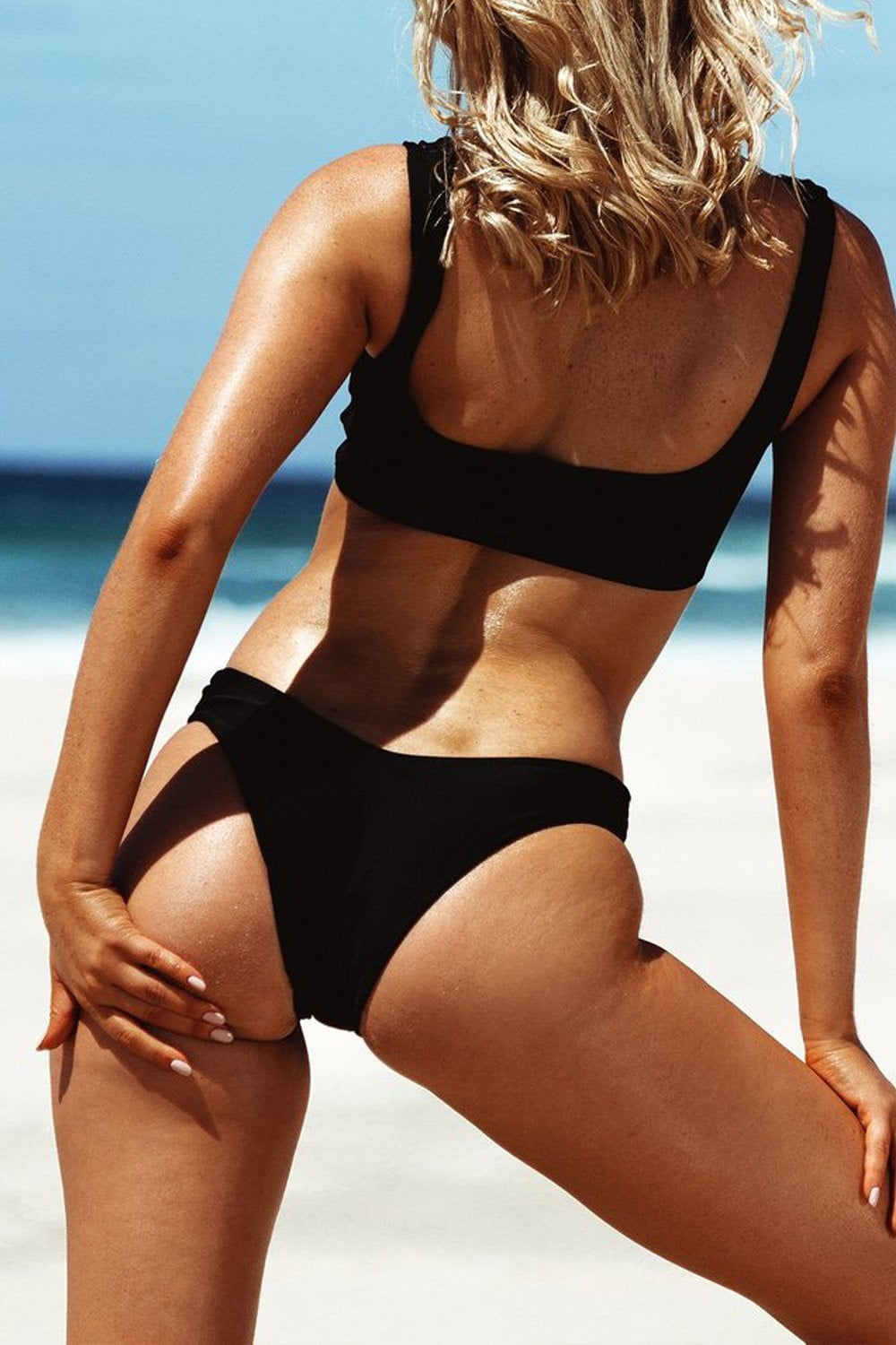 Black High Leg Bikini Bottom