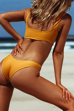 Gold High Leg Bikini Bottom