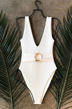 White Ribbed O-Ring Belted One Piece Swimsuit