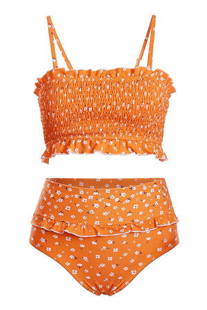 Orange Floral Smocked Ruffle Trim Bandeau Bikini Top