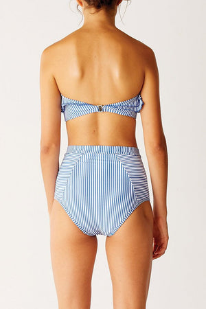 Blue White Striped High Waist Bikini Bottom
