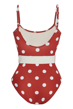 Red White Polka Dots Belted One Piece Swimsuit