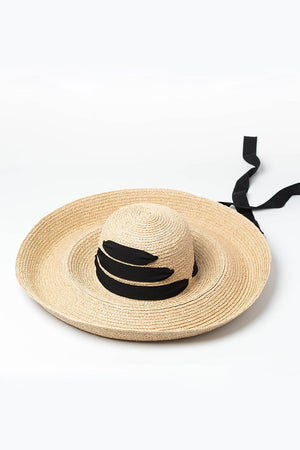 Raffia Straw Curved Brim Sun Hat With Chin Tie